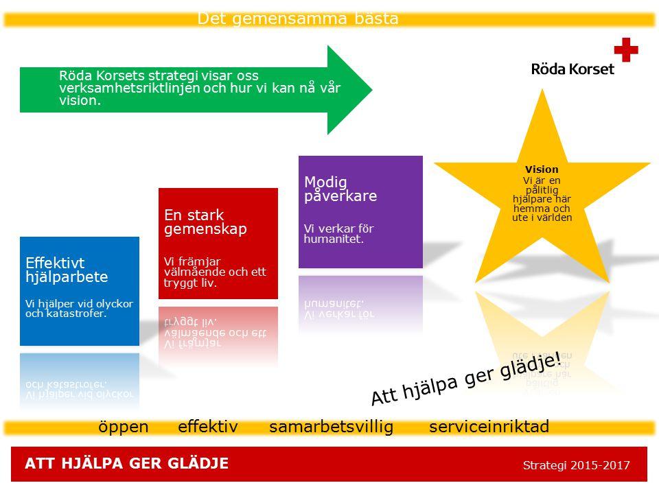 ATT HJÄLPA GER GLÄDJE Strategi 2015-2017 öppen effektiv samarbetsvillig serviceinriktad Strategia = näin me pääsemme vision asettamaan tavoitteeseen D
