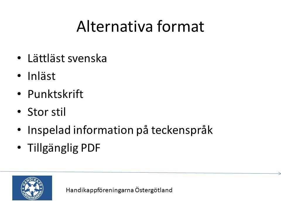 Alternativa format Lättläst svenska Inläst Punktskrift Stor stil Inspelad information på teckenspråk Tillgänglig PDF Handikappföreningarna Östergötlan