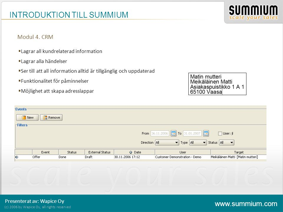 INTRODUKTION TILL SUMMIUM (c) 2006 by Wapice Oy, all rights reserved www.summium.com Modul 4. CRM  Lagrar all kundrelaterad information  Lagrar alla