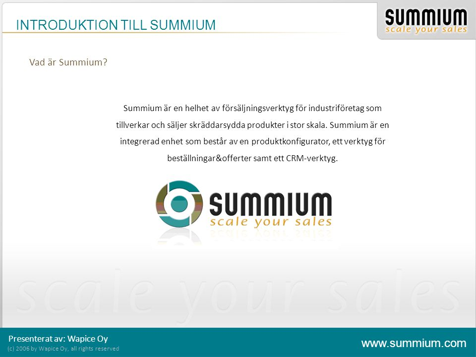 INTRODUKTION TILL SUMMIUM (c) 2006 by Wapice Oy, all rights reserved www.summium.com Modul 4.
