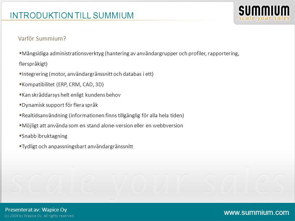 INTRODUKTION TILL SUMMIUM (c) 2006 by Wapice Oy, all rights reserved www.summium.com Presenterat av: Wapice Oy Summium – Processen