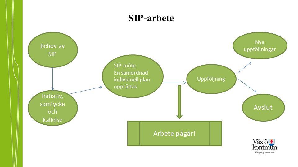 SIP-arbete Initiativ, samtycke och kallelse Behov av SIP SIP-möte En samordnad individuell plan upprättas Uppföljning Nya uppföljningar Avslut Arbete