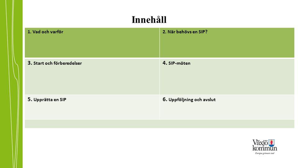 Innehåll 1. Vad och varför2. När behövs en SIP? 3. Start och förberedelser 4. SIP-möten 5. Upprätta en SIP 6. Uppföljning och avslut