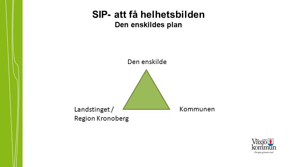SIP- att få helhetsbilden Den enskildes plan Den enskilde Kommunen Landstinget / Region Kronoberg