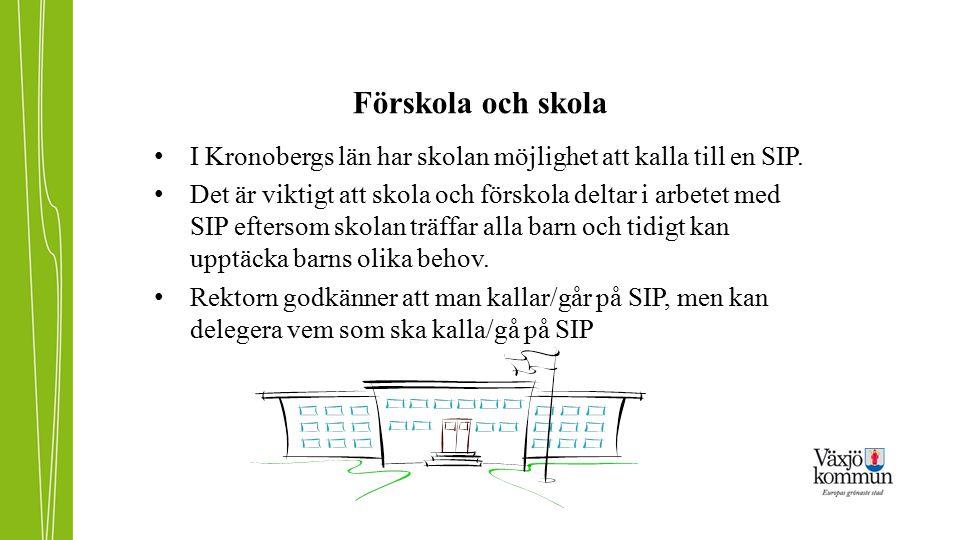 Förskola och skola I Kronobergs län har skolan möjlighet att kalla till en SIP. Det är viktigt att skola och förskola deltar i arbetet med SIP efterso