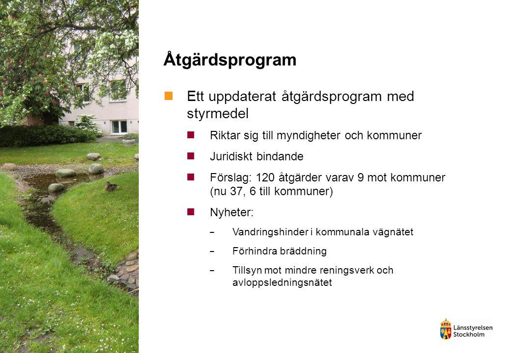 Åtgärdsprogram Ett uppdaterat åtgärdsprogram med styrmedel Riktar sig till myndigheter och kommuner Juridiskt bindande Förslag: 120 åtgärder varav 9 m