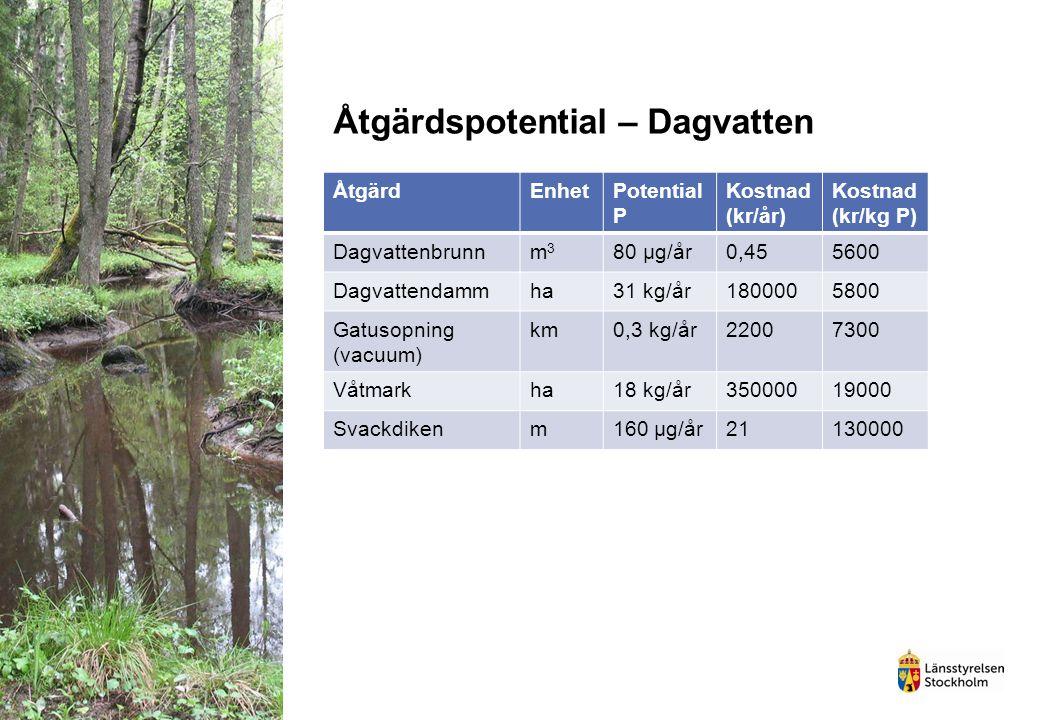 Åtgärdspotential – Dagvatten ÅtgärdEnhetPotential P Kostnad (kr/år) Kostnad (kr/kg P) Dagvattenbrunnm3m3 80 µg/år0,455600 Dagvattendammha31 kg/år18000