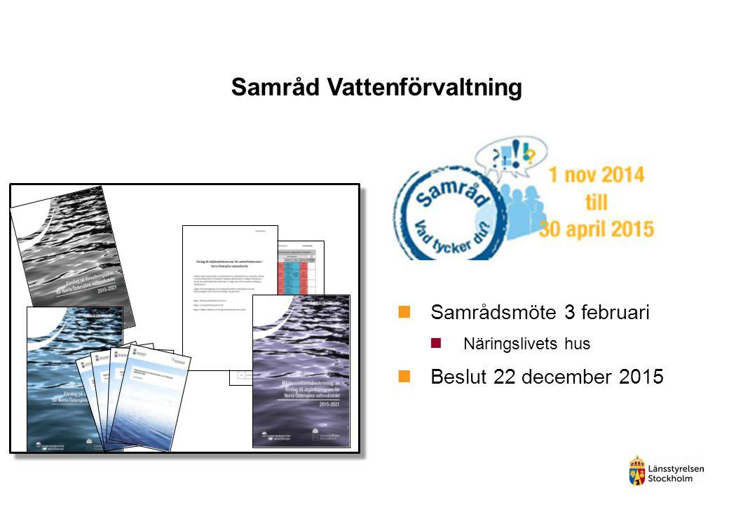 Samråd Vattenförvaltning Samrådsmöte 3 februari Näringslivets hus Beslut 22 december 2015