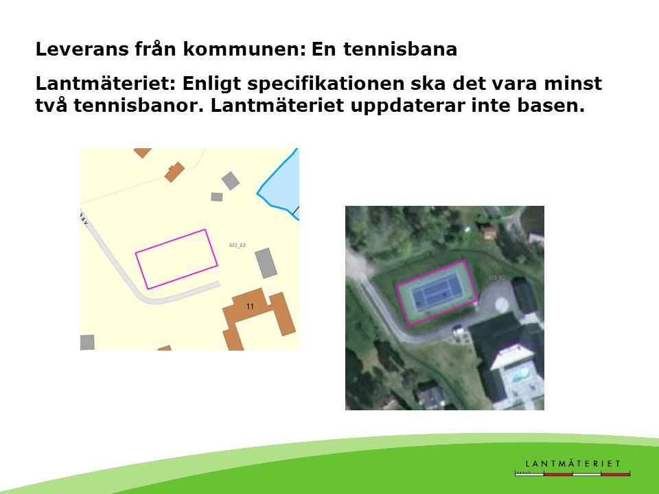 Leverans från kommunen: En tennisbana Lantmäteriet: Enligt specifikationen ska det vara minst två tennisbanor.