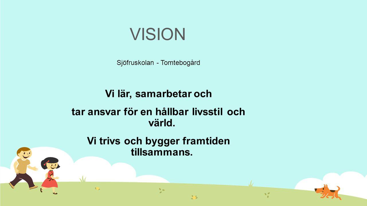 VISION Sjöfruskolan - Tomtebogård Vi lär, samarbetar och tar ansvar för en hållbar livsstil och värld. Vi trivs och bygger framtiden tillsammans.