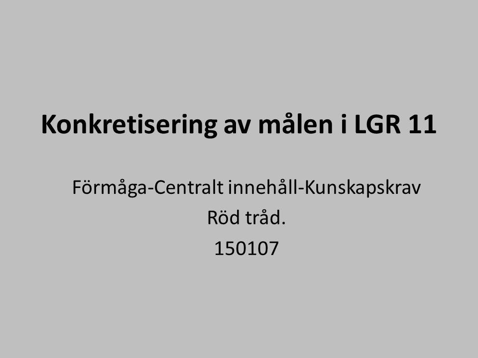 Konkretisering av målen i LGR 11 Förmåga-Centralt innehåll-Kunskapskrav Röd tråd. 150107
