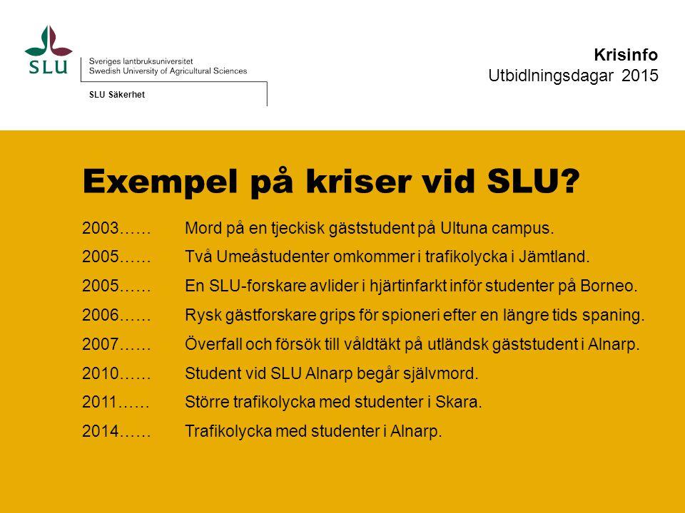 Mer information finns på… Studentwebben Medarbetarwebben (stöd och service - säkerhet) SLU Säkerhet Krisinfo Utbidlningsdagar 2015