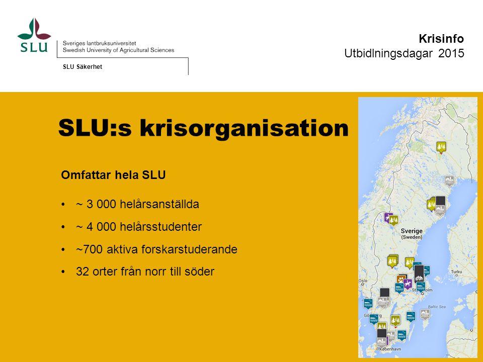 SLU:s krisorganisation Omfattar hela SLU ~ 3 000 helårsanställda ~ 4 000 helårsstudenter ~700 aktiva forskarstuderande 32 orter från norr till söder SLU Säkerhet Krisinfo Utbidlningsdagar 2015