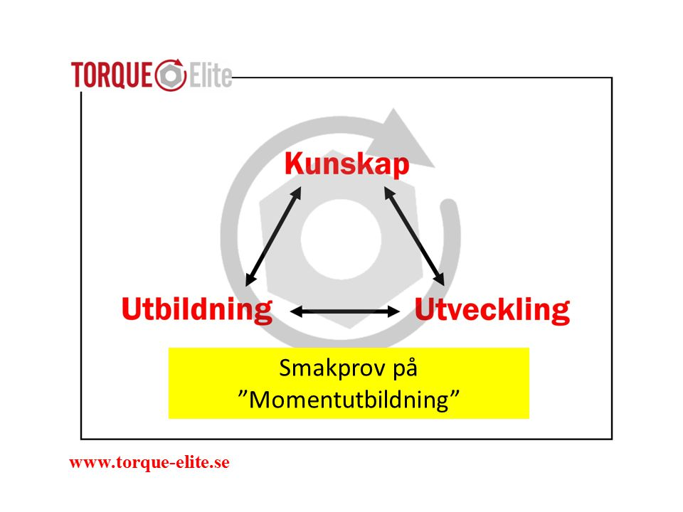 Målet med mometdragning är att skapa rätt klämkraft www.torque-elite.se Vi går igenom hur den uppstår och vad som hindrar momentet att bli en klämkraft