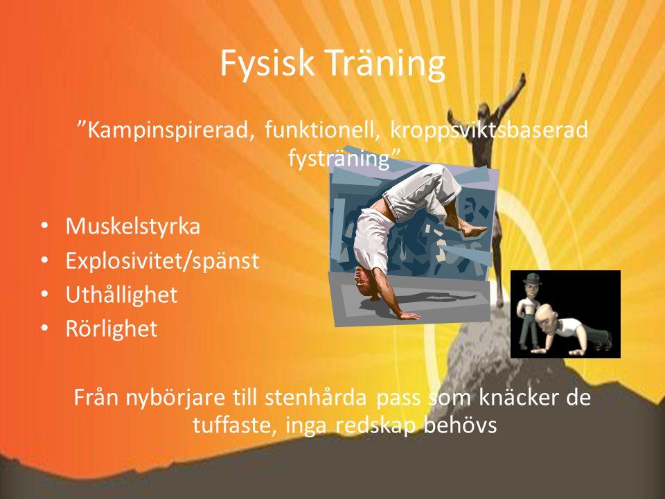 Fysisk Träning Kampinspirerad, funktionell, kroppsviktsbaserad fysträning Muskelstyrka Explosivitet/spänst Uthållighet Rörlighet Från nybörjare till stenhårda pass som knäcker de tuffaste, inga redskap behövs