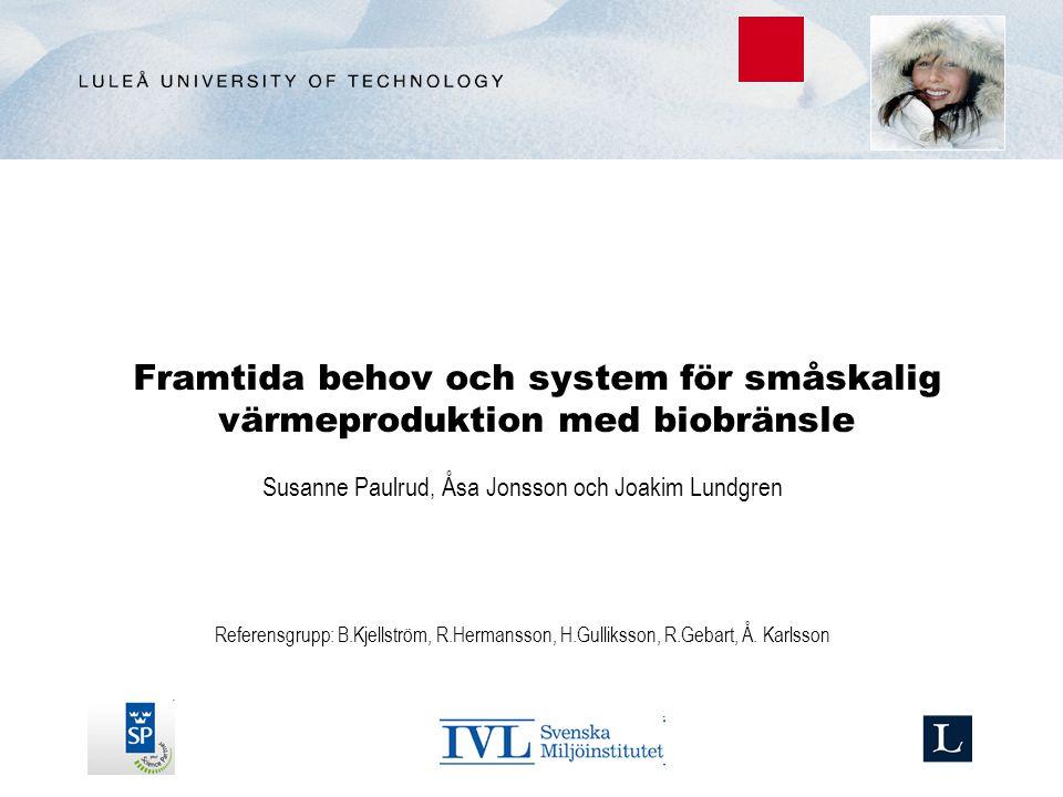 Framtida behov och system för småskalig värmeproduktion med biobränsle Susanne Paulrud, Åsa Jonsson och Joakim Lundgren Referensgrupp: B.Kjellström, R.Hermansson, H.Gulliksson, R.Gebart, Å.