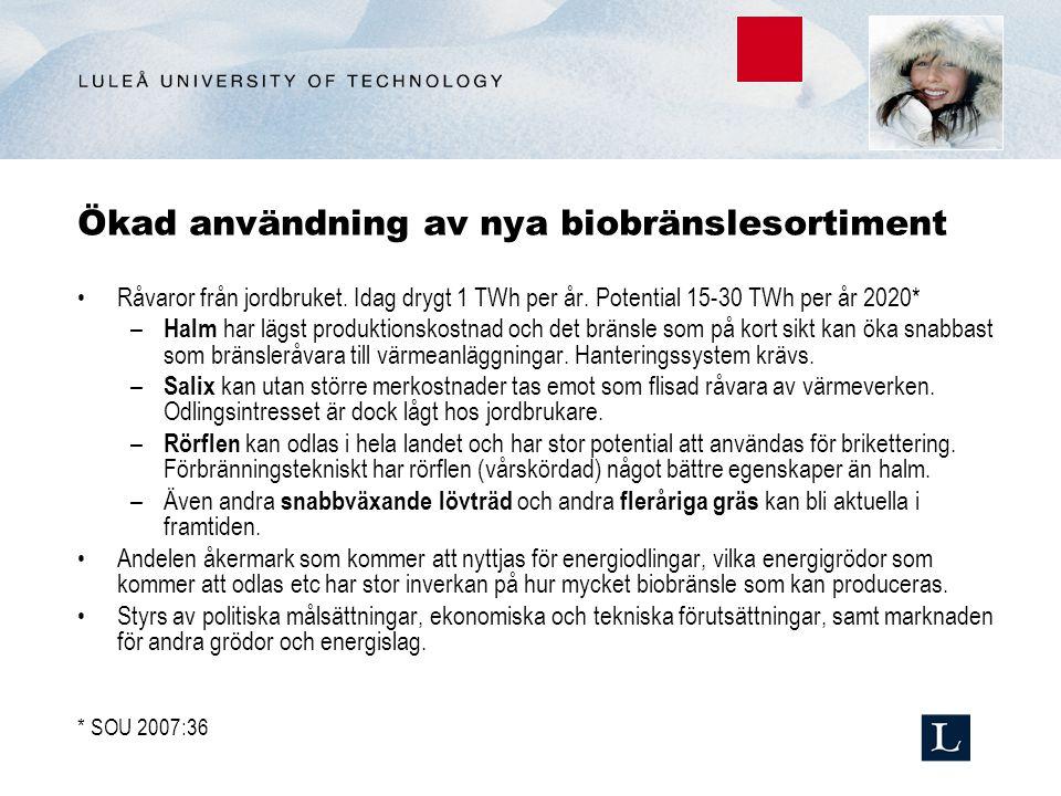Ökad användning av nya biobränslesortiment Råvaror från jordbruket.