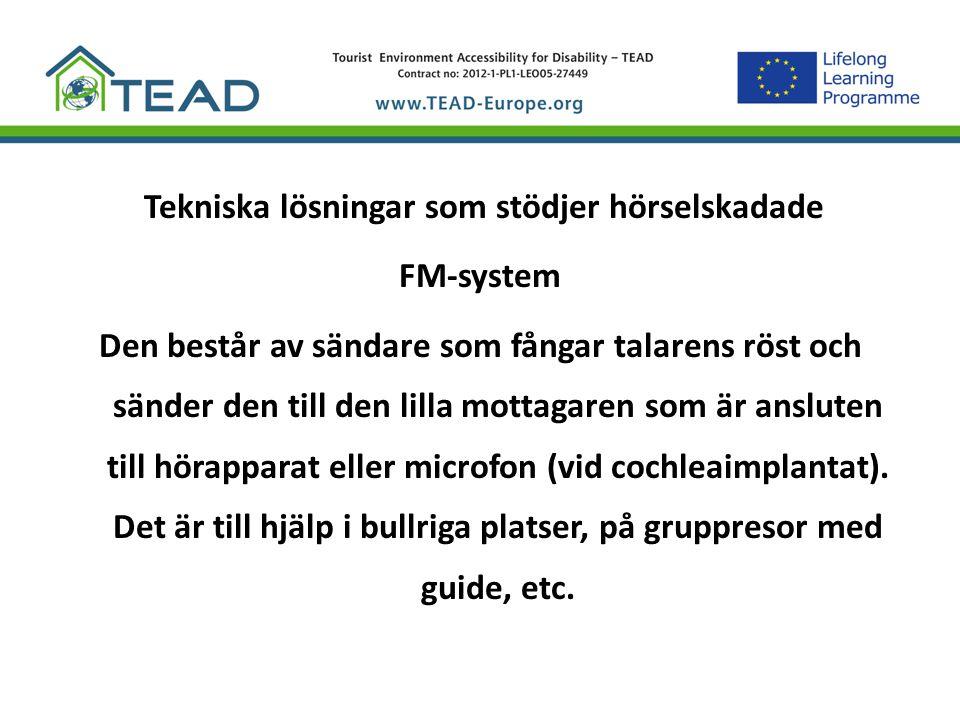 Tekniska lösningar som stödjer hörselskadade FM-system Den består av sändare som fångar talarens röst och sänder den till den lilla mottagaren som är