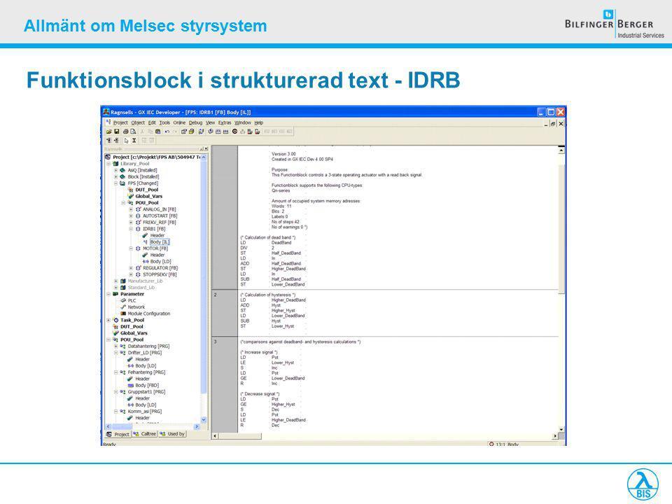 Allmänt om Melsec styrsystem Funktionsblock i strukturerad text - IDRB