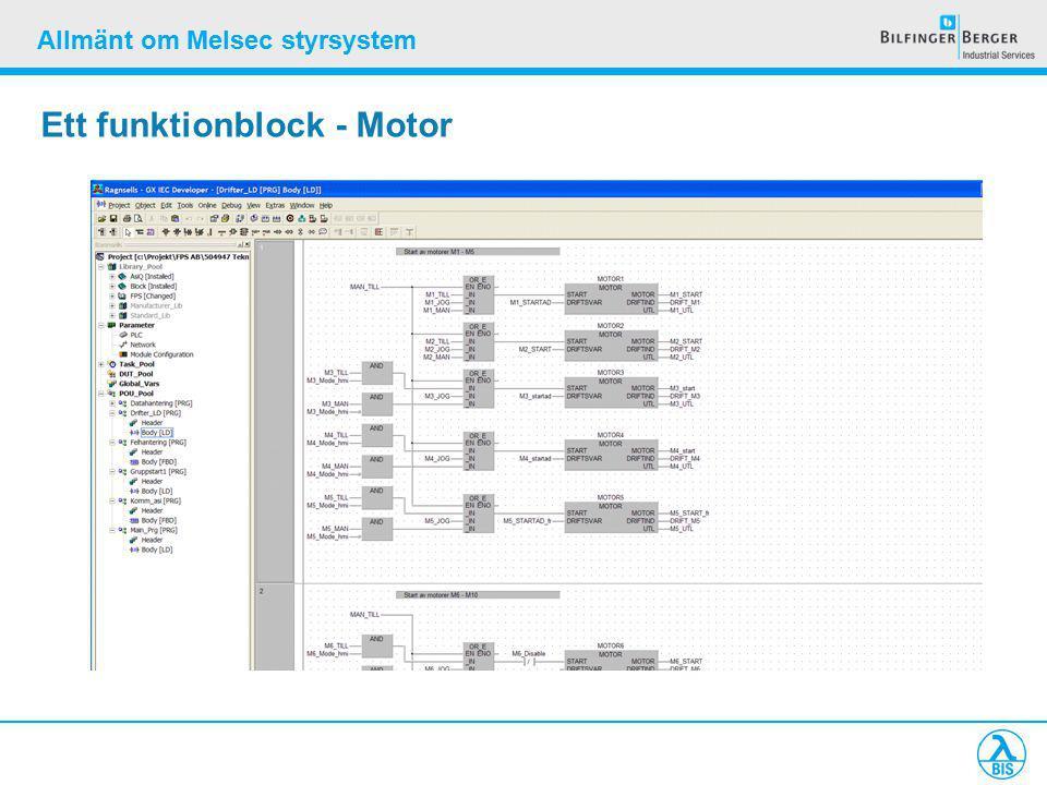Allmänt om Melsec styrsystem Ett funktionblock - Motor