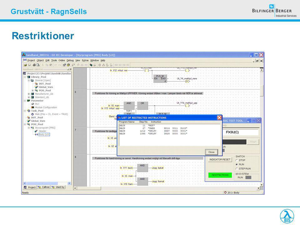 Grustvätt - RagnSells Restriktioner