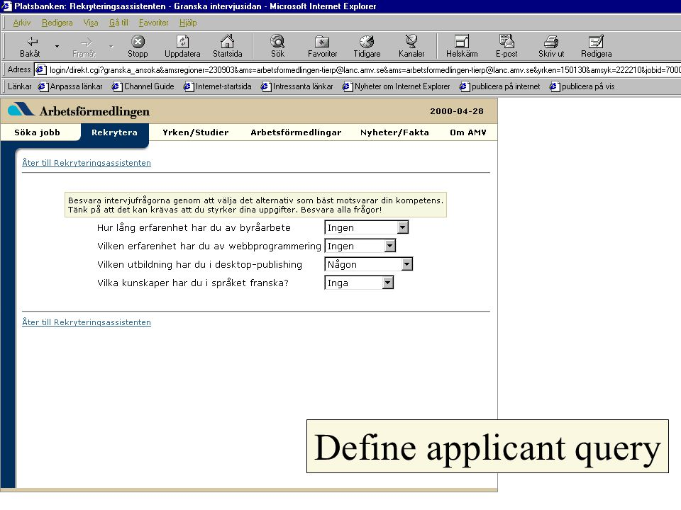 Define applicant query