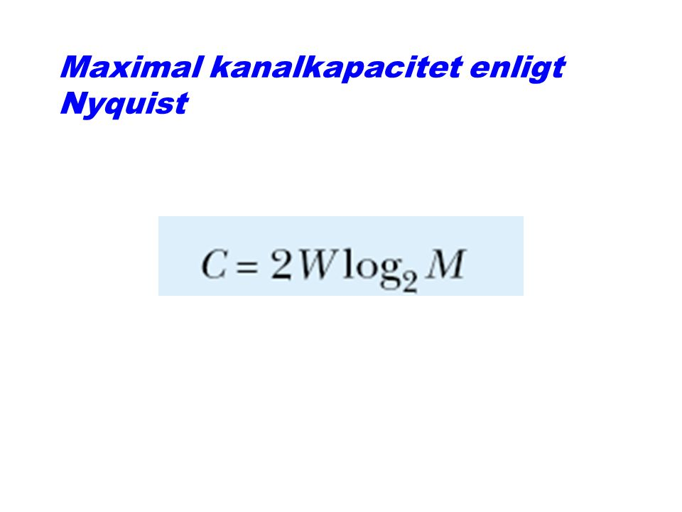 Maximal kanalkapacitet enligt Nyquist