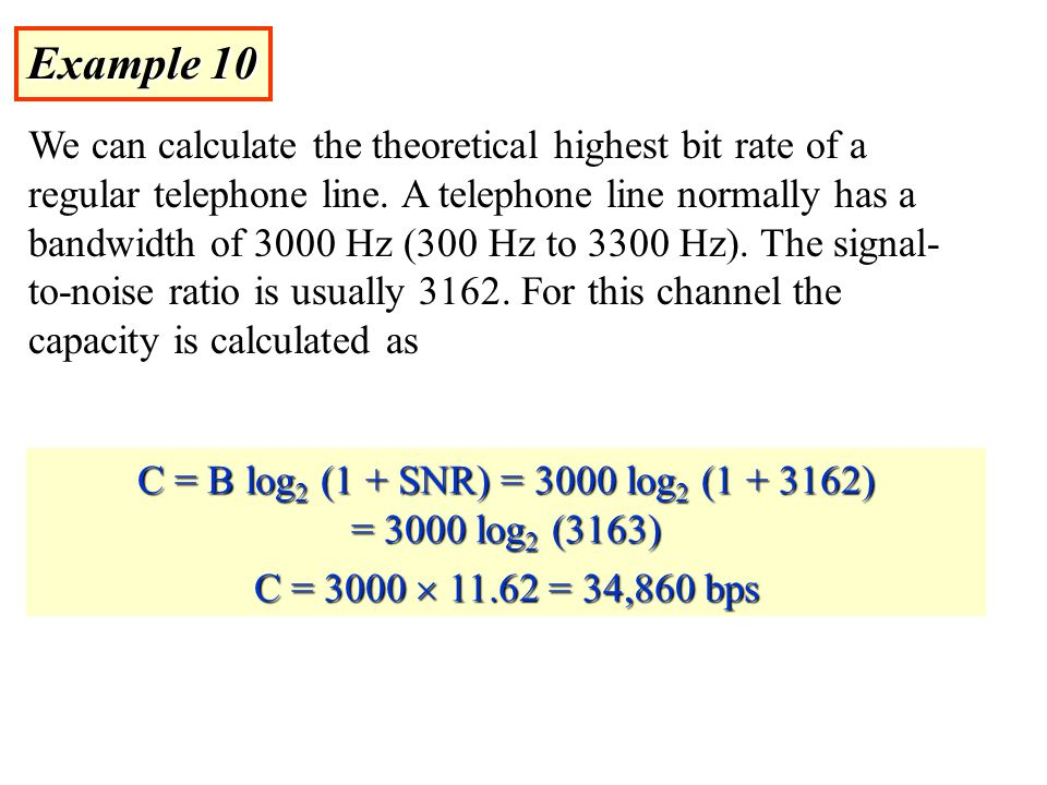 Example 10 We can calculate the theoretical highest bit rate of a regular telephone line.
