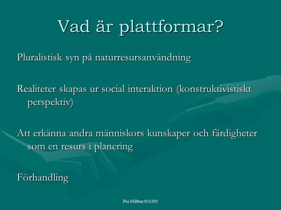 Per Hillbur 051201 Vad är plattformar? Pluralistisk syn på naturresursanvändning Realiteter skapas ur social interaktion (konstruktivistiskt perspekti