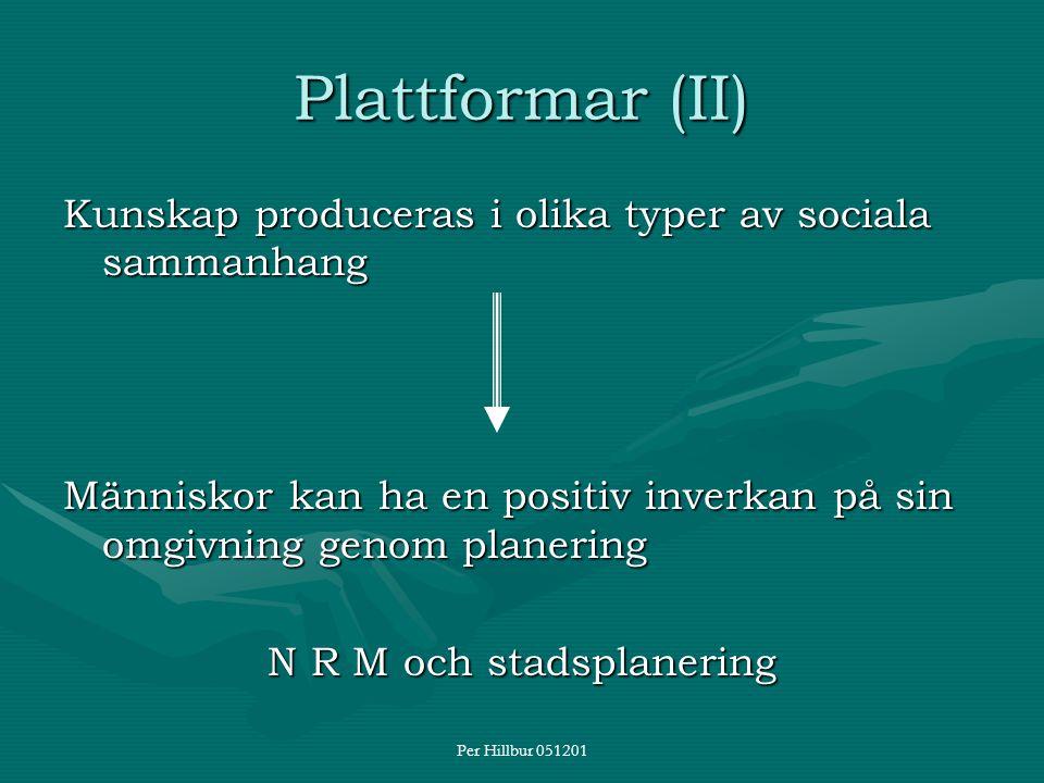 Per Hillbur 051201 Plattformar (II) Kunskap produceras i olika typer av sociala sammanhang Människor kan ha en positiv inverkan på sin omgivning genom