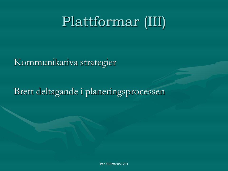 Per Hillbur 051201 Plattformar (III) Kommunikativa strategier Brett deltagande i planeringsprocessen
