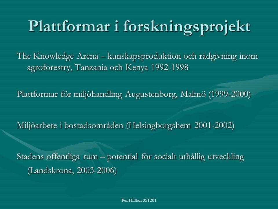 Per Hillbur 051201 Plattformar i forskningsprojekt The Knowledge Arena – kunskapsproduktion och rådgivning inom agroforestry, Tanzania och Kenya 1992-