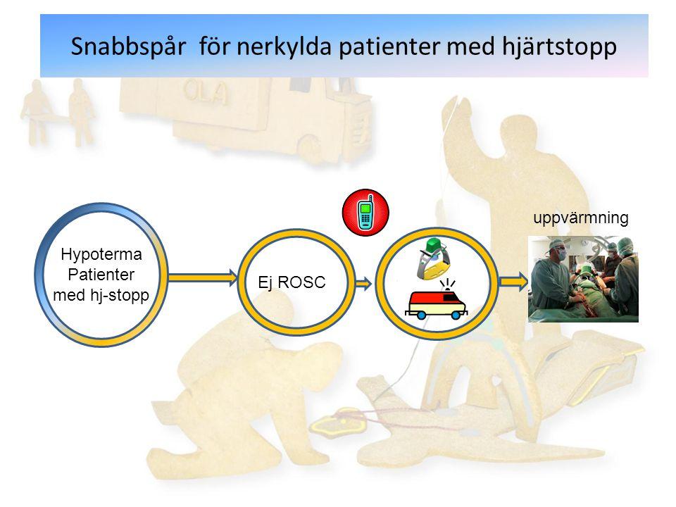 Snabbspår för nerkylda patienter med hjärtstopp Hypoterma Patienter med hj-stopp Ej ROSC uppvärmning