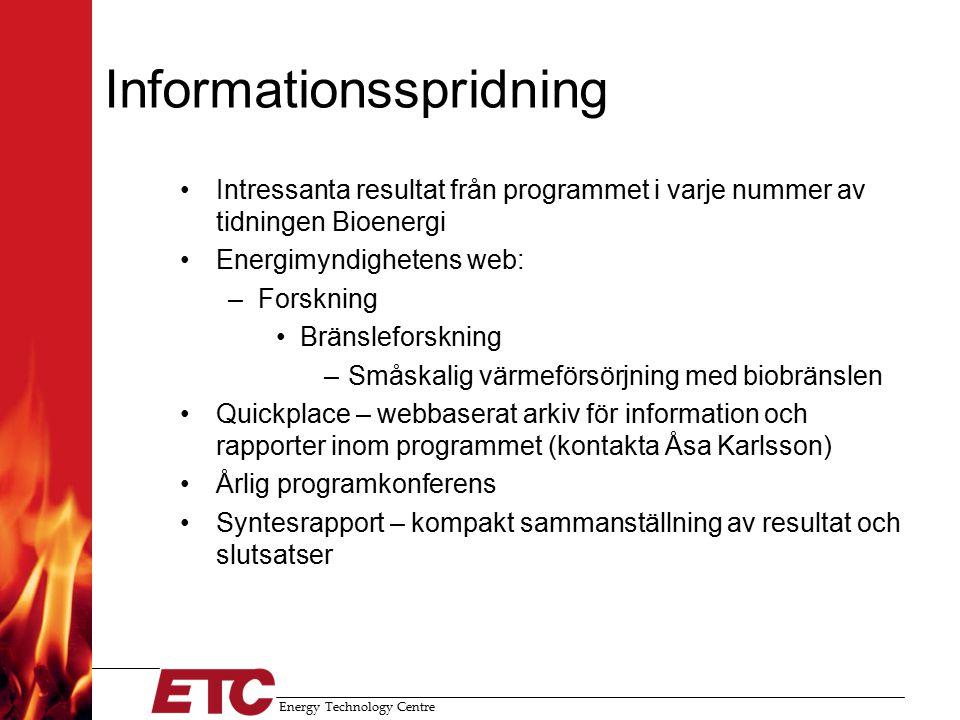 Energy Technology Centre Utvecklingscheckar Arbetsgång: –Ansökan från ett företag –Utvecklingsarbetet utförs av forskare inom programmet –Finansiering 75 kkr från STEM + 75 kkr från företaget (kan vara natura) Genomförda utvecklingscheckar: –WTS (ETC) –Combiheat (ETC) –Vänertekno (ÄFAB) –F:a Börje Pettersson (ÄFAB) –Vänertekno (ÄFAB) –Salwan Zaynal (ÄFAB)
