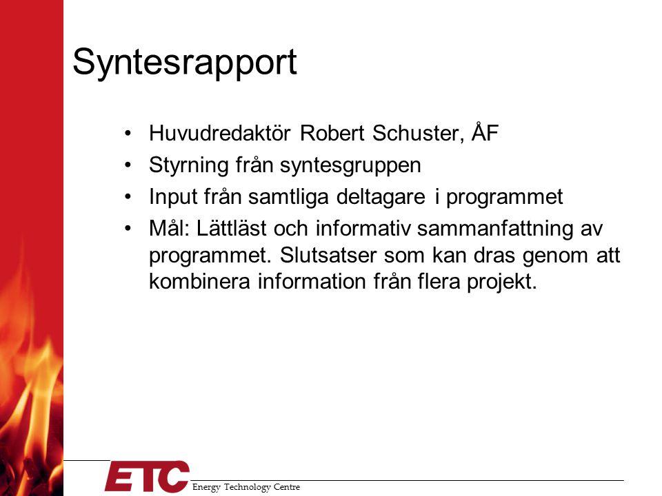 Energy Technology Centre Syntesrapport Huvudredaktör Robert Schuster, ÅF Styrning från syntesgruppen Input från samtliga deltagare i programmet Mål: Lättläst och informativ sammanfattning av programmet.