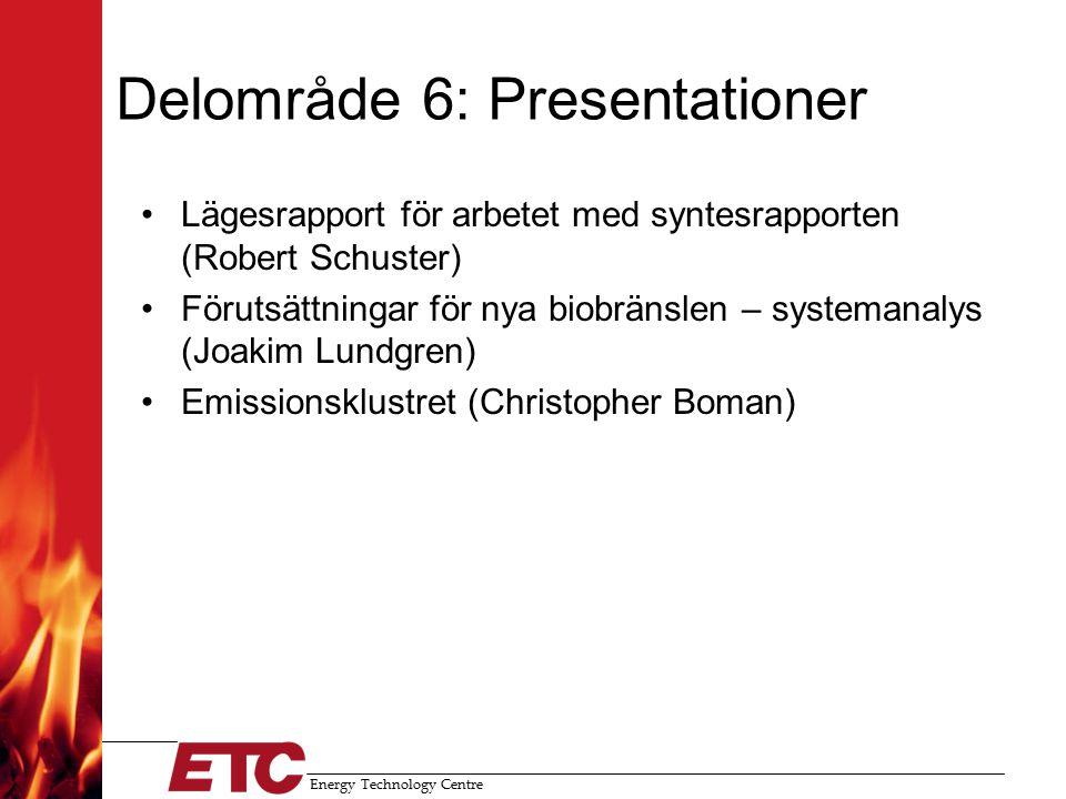Energy Technology Centre Delområde 6: Presentationer Lägesrapport för arbetet med syntesrapporten (Robert Schuster) Förutsättningar för nya biobränslen – systemanalys (Joakim Lundgren) Emissionsklustret (Christopher Boman)