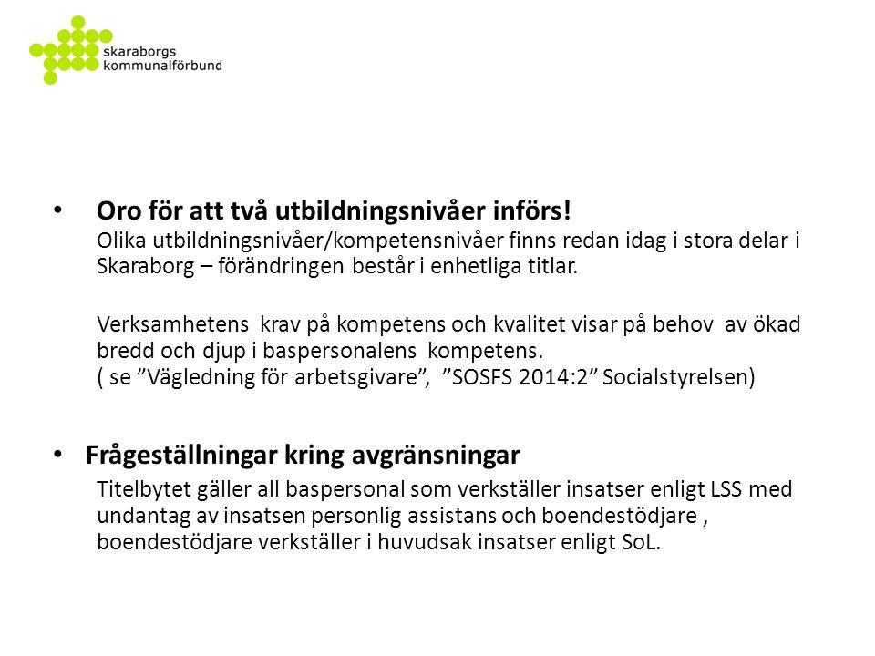 Gemensam handlingsplan för Skaraborg 1.SamverkanVinter/vår 2015 2.InformationVinter/vår 2015 3.Inventering2015 4.TitelbyteLöpande dock senast december 2016 5.Validera/Utbilda Arbetsgivaren bedömer eventuellt behov