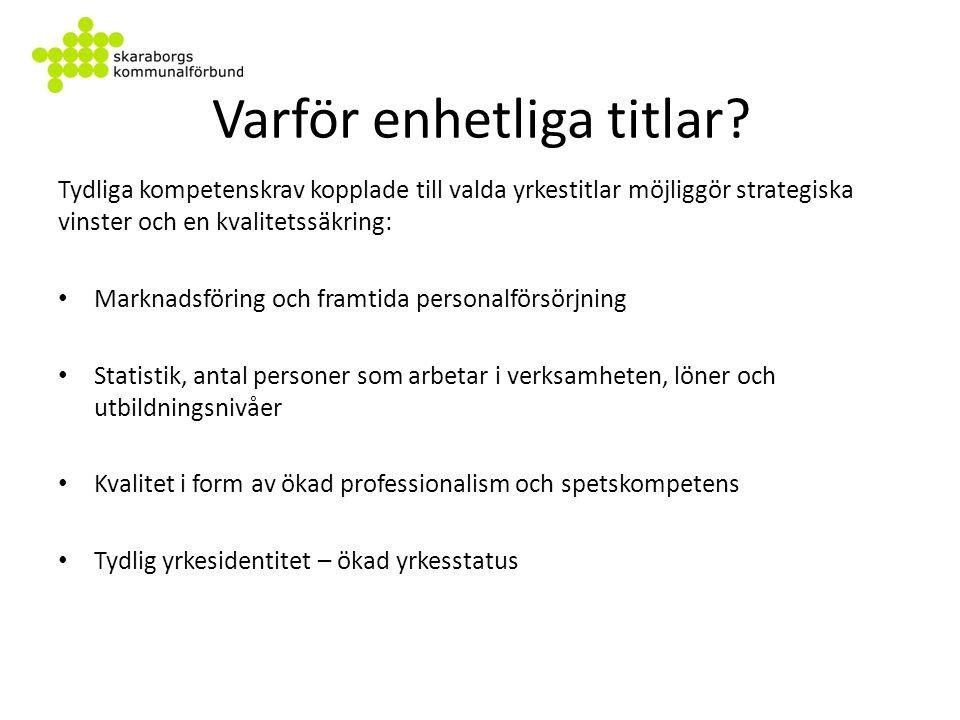 Titlar förr och nu / Val av titlar Titel på Vårdare Habiliterings- servicepersonal.