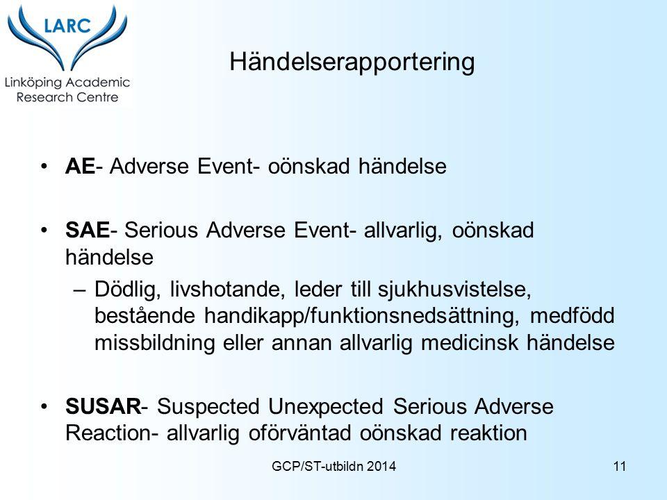 GCP/ST-utbildn 2014 Händelserapportering AE- Adverse Event- oönskad händelse SAE- Serious Adverse Event- allvarlig, oönskad händelse –Dödlig, livshota