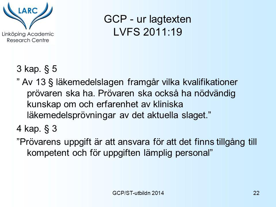 """GCP/ST-utbildn 2014 GCP - ur lagtexten LVFS 2011:19 3 kap. § 5 """" Av 13 § läkemedelslagen framgår vilka kvalifikationer prövaren ska ha. Prövaren ska o"""