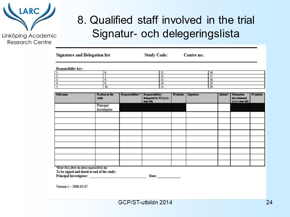 GCP/ST-utbildn 2014 8. Qualified staff involved in the trial Signatur- och delegeringslista 24