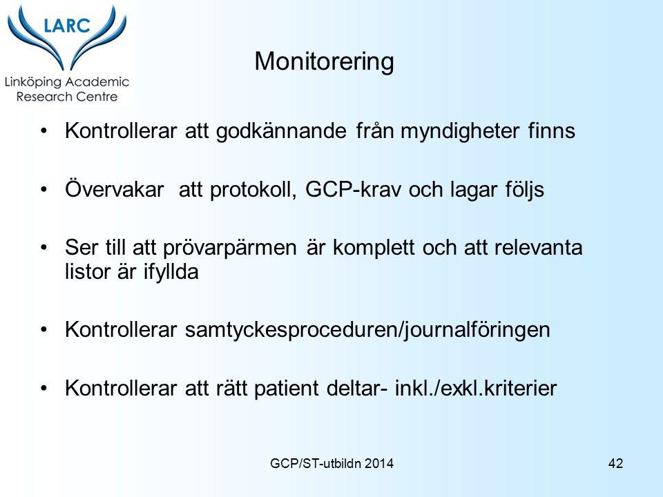 GCP/ST-utbildn 2014 Monitorering Kontrollerar att godkännande från myndigheter finns Övervakar att protokoll, GCP-krav och lagar följs Ser till att pr