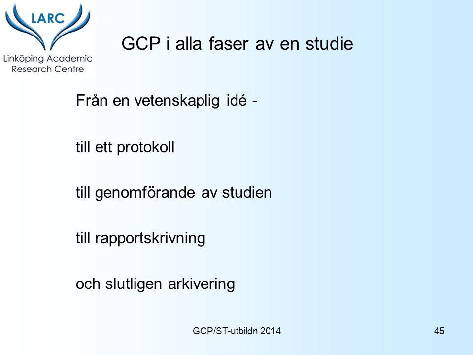 GCP i alla faser av en studie Från en vetenskaplig idé - till ett protokoll till genomförande av studien till rapportskrivning och slutligen arkiverin