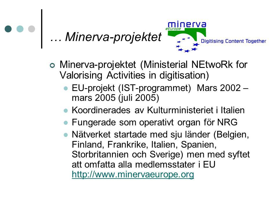 … Minerva-projektet Minerva-projektet (Ministerial NEtwoRk for Valorising Activities in digitisation) EU-projekt (IST-programmet) Mars 2002 – mars 200