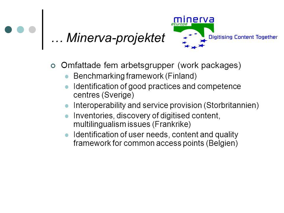 … Minerva-projektet Omfattade fem arbetsgrupper (work packages) Benchmarking framework (Finland) Identification of good practices and competence centr