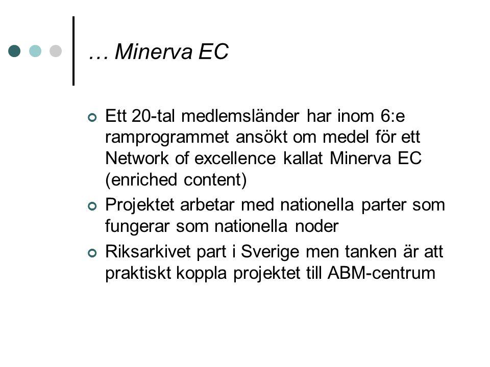 … Minerva EC Ett 20-tal medlemsländer har inom 6:e ramprogrammet ansökt om medel för ett Network of excellence kallat Minerva EC (enriched content) Pr