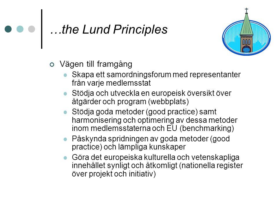 …the Lund Principles Vägen till framgång Skapa ett samordningsforum med representanter från varje medlemsstat Stödja och utveckla en europeisk översik
