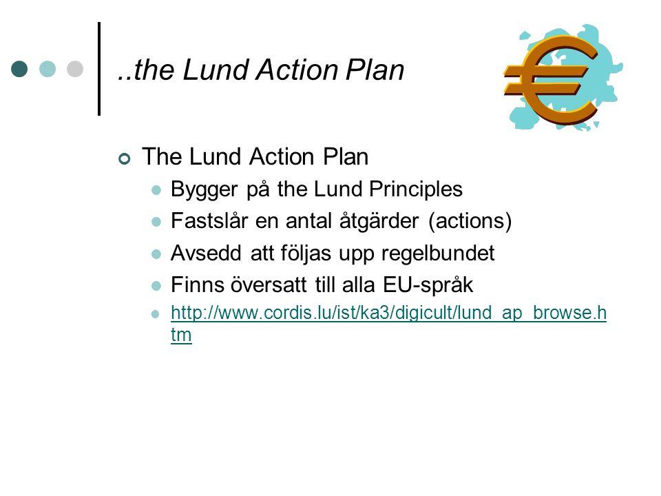 ..the Lund Action Plan The Lund Action Plan Bygger på the Lund Principles Fastslår en antal åtgärder (actions) Avsedd att följas upp regelbundet Finns