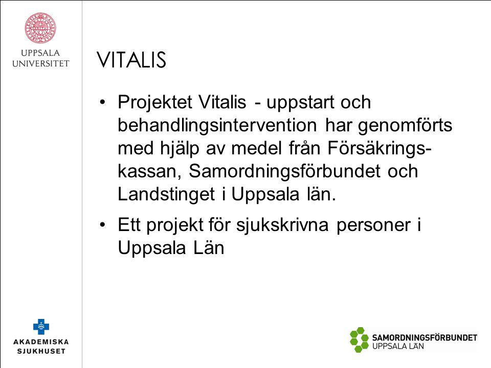 VITALIS Projektet Vitalis - uppstart och behandlingsintervention har genomförts med hjälp av medel från Försäkrings- kassan, Samordningsförbundet och Landstinget i Uppsala län.