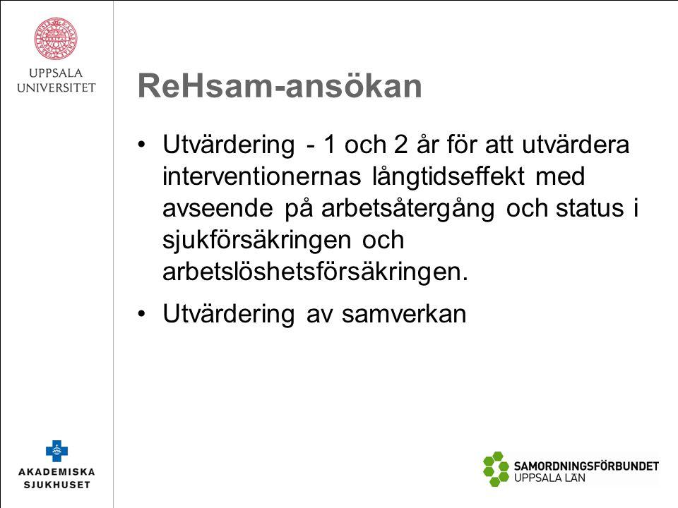 ReHsam-ansökan Utvärdering - 1 och 2 år för att utvärdera interventionernas långtidseffekt med avseende på arbetsåtergång och status i sjukförsäkringen och arbetslöshetsförsäkringen.